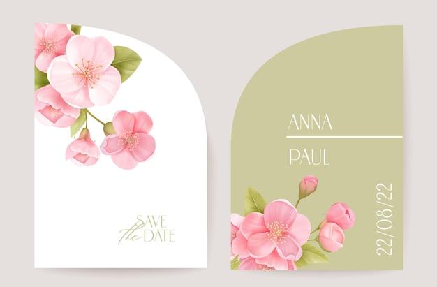 モダンなミニマルアールデコの結婚式のベクトルの招待状、植物の桜の自由奔放に生きるカード。さくらの花、葉のポスター、花のフレームテンプレート。日付の葉のトレンディなデザイン、豪華なパンフレットを保存します