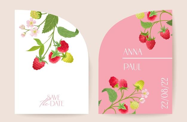 Modern minimal art deco wedding vector invitation, botanical raspberry boho card. fruit berries, leaves, tropic flowers poster, floral frame template. save the date trendy design, luxury brochure