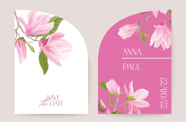Modern minimal art deco wedding vector invitation. magnolia botanical tropical boho card, spring flowers poster, floral frame template. save the date foliage trendy design, luxury brochure