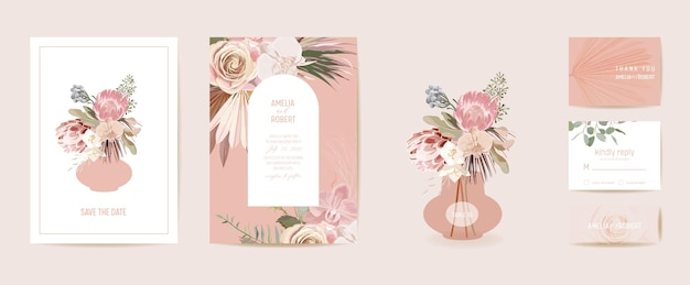 Modern minimal art deco wedding vector invitation set. boho orchid, pampas grass, protea card template. tropic flowers, palm leaves poster, floral frame. save the date trendy design, luxury brochure