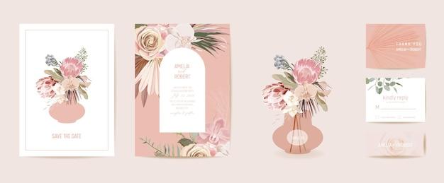 モダンなミニマルアールデコの結婚式のベクトルの招待状を設定します。自由奔放に生きる蘭、パンパスグラス、プロテアカードテンプレート。熱帯の花、ヤシの葉のポスター、花のフレーム。日付を保存するトレンディなデザイン、豪華なパンフレット