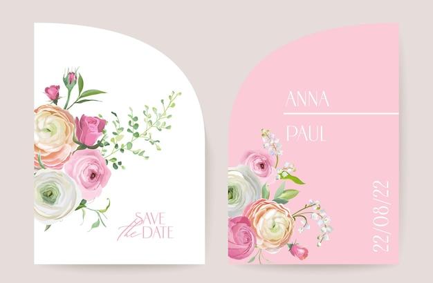 Modern minimal art deco wedding vector invitation set. boho ranunculus, rose, lily card template. spring flowers, leaves poster, floral frame. save the date trendy design, luxury brochure