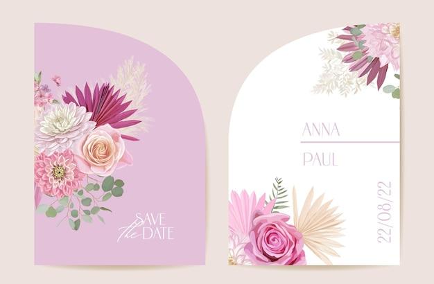 モダンなミニマルアールデコの結婚式のベクトルの招待状を設定します。自由奔放に生きるバラ、パンパスグラス、ダリアカードテンプレート。熱帯のヤシの葉、花のポスター、花のフレーム。日付を保存するトレンディなデザイン、豪華なパンフレット