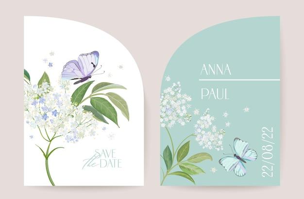 Современный минимальный свадебный вектор в стиле ар-деко. набор приглашений. бохо белый шаблон карты бузины и бабочки. весенние цветы плакат, цветочная рамка. сохраните дату модный дизайн, роскошная брошюра
