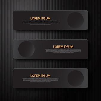 ビジネスプレゼンテーションのモダンな最小限の黒いバナーインフォグラフィックデザイン要素。
