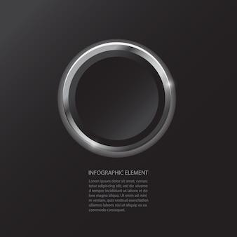 Modern minimal black button infographics design element for business presentation.