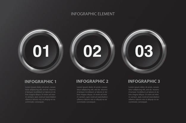 Modern minimal black buttons three steps infographics design element for business presentation.