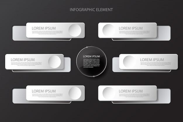 Modern minimal black infographics design element for business presentation
