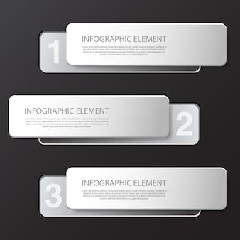 ビジネスプレゼンテーションのモダンな最小限の黒いインフォグラフィックデザイン要素。