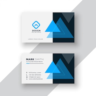 Modern minimal blue business card design with triangle shapes