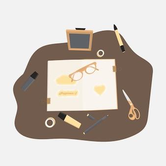 Modern minimal book markers scissors tape crafting illustration