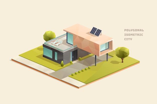 ソーラーパネルを備えたモダンなミニマルファミリーエコハウス