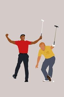 Современные минималистичные гольфисты, отличный дизайн для любых целей. векторная иллюстрация. абстрактные разные люди с клюшками для гольфа