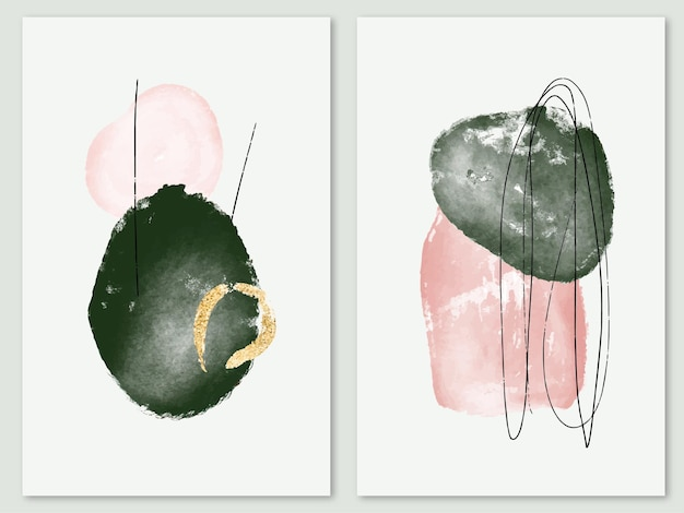 Современные минималистичные плакаты с абстрактными акварельными формами