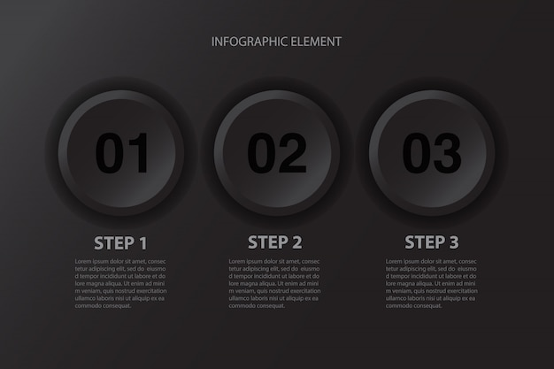 モダンなミニマルな3つのステップ黒ボタンインフォグラフィックデザインビジネスプレゼンテーションの要素。