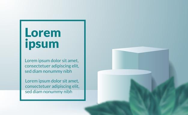현대적인 미니멀리즘 3d 큐브 및 실린더 제품은 잎과 부드러운 파스텔 색상으로 받침대 연단 무대를 표시합니다.