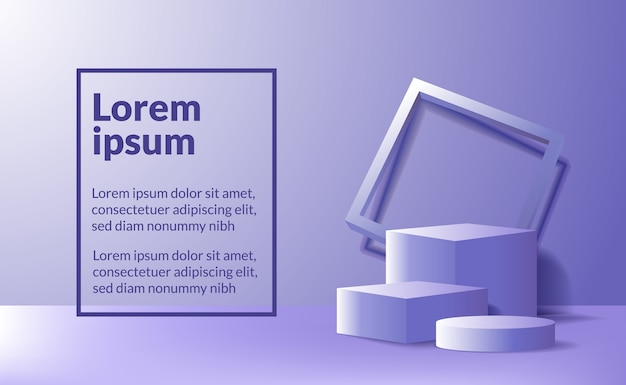 Modern minimalism empty podium stage for product display showcase template. geometrical 3d blue purple box and cylinder with frame and soft lighting.