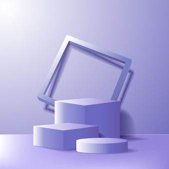 Modern minimalism empty podium stage for product display showcase template. geometrical 3d blue purple box and cylinder with frame