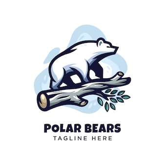 Modern minimalism polar bear logo