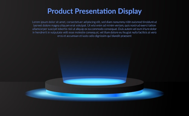 Modern minimalism product display stage podium pedestal with neon lamp glow spotlight and dark background