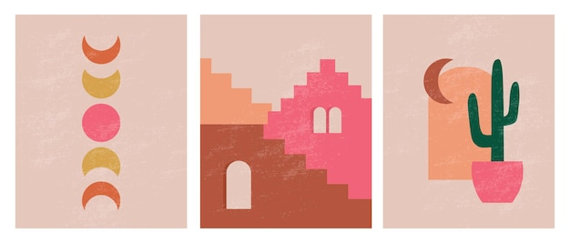 Modern minimalist abstract aesthetic illustrations bohemian style wall decor