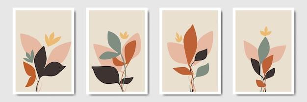 Современный минималистичный абстрактный фон растительное искусство для печати в богемном стиле
