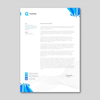 Modern minimalist blue letterhead template