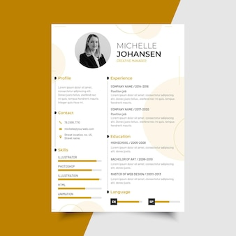 Modern minimalist cv template with photo