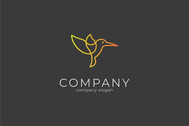 Современный минималистский элегантный зимородок логотип вектор значок шаблона
