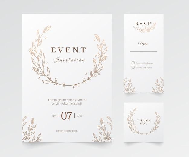 Modern minimalist event and wedding invitation