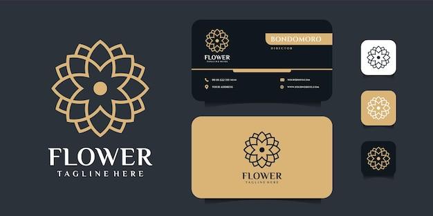 モダンなミニマリストの花のロゴと名刺のデザインテンプレート。