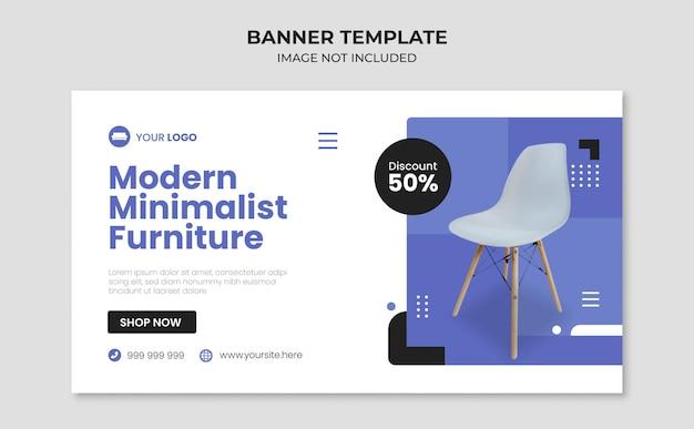 Modern minimalist furniture banner template