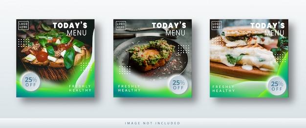 현대 미니 멀 인스 타 그램 및 소셜 미디어 포스트 음식 배너 판매 템플릿