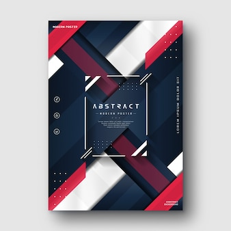 Modern minimalist red blue navy abstract poster