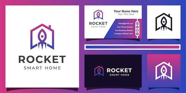 Modern minimalist rocket house technology for smart home logo with line art style and business card design