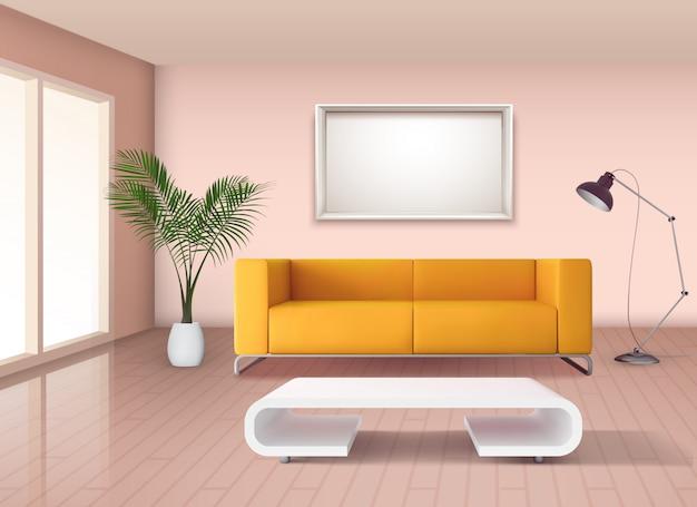 Современный интерьер гостиной в стиле минимализма с кукурузно-желтым диваном и белой кофейной чашкой