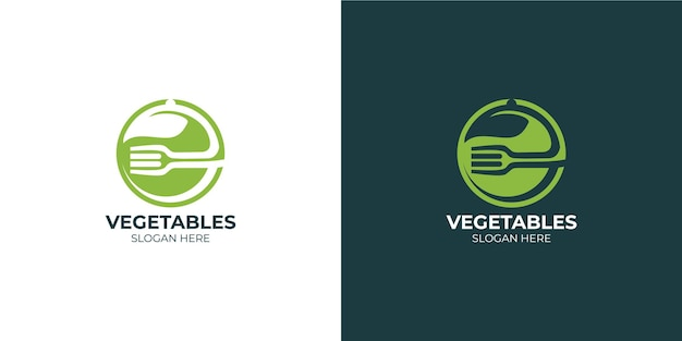 Modern and minimalist vegetable logo set