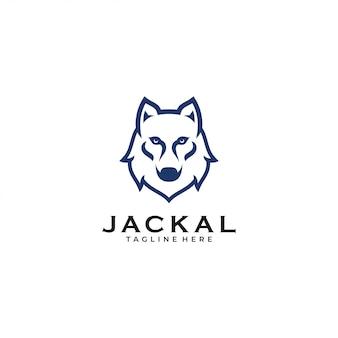 Modern minimalist wolf jackal logo