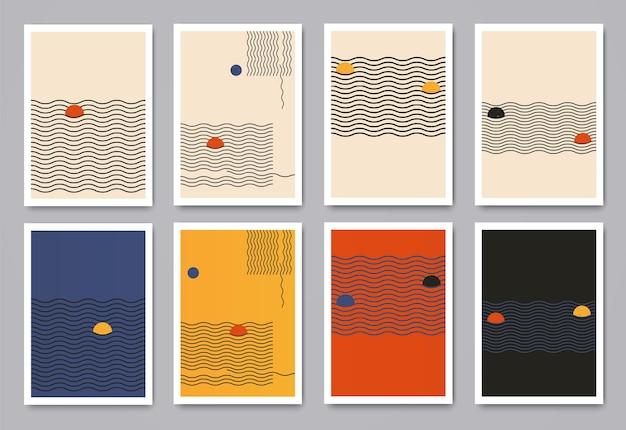 ダイナミックな波線と円を備えたモダンなミニマルな幾何学模様。パンフレットの表紙、壁、はがき用の現代的なトレンディなクリエイティブテンプレート。