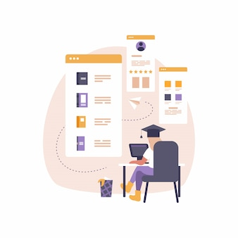 Современное мобильное приложение для образования и электронного обучения. иллюстрация женщина сидит за столом с ноутбуком