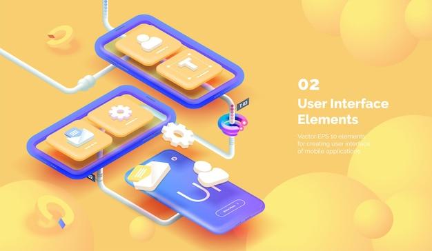 현대 모바일 앱 사용자 인터페이스 3d 일러스트