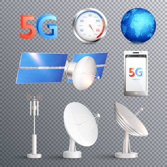 Modern mobile internet technology transparent set of isolated elements promoting signal transmission of 5g standard realistic