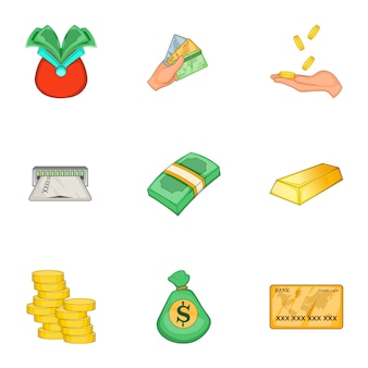 Modern money and finance set, cartoon style