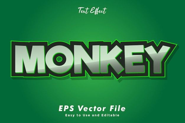 Modern monkey text typography effect template