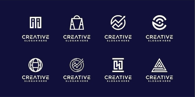 Modern monogram abstract logo design collection Premium Vector