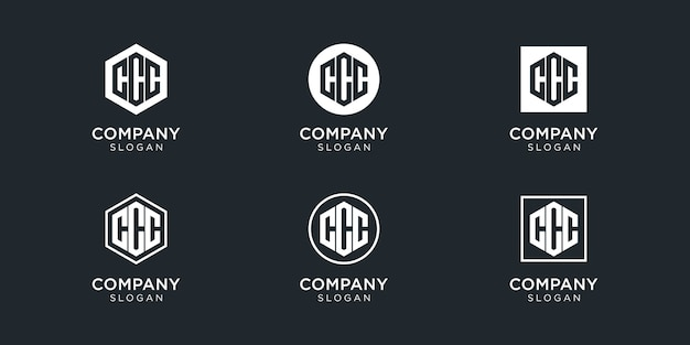 Modern monogram letter ccc logo collection for company