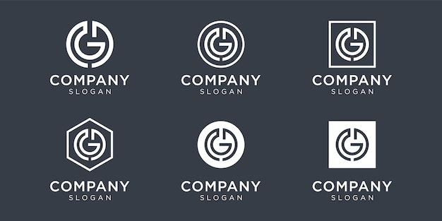 Modern monogram letter gd logo collection for company