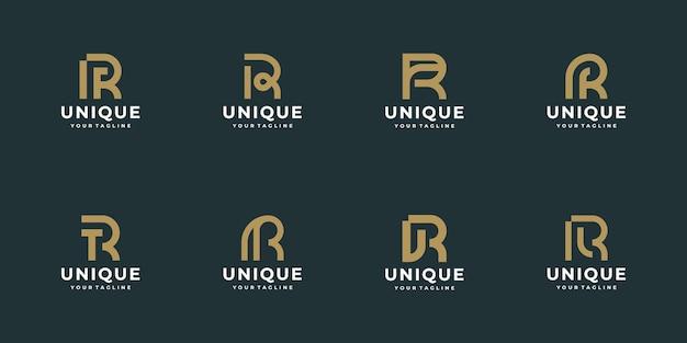 모던한 모노그램 문자 r 로고 디자인 컬렉션,