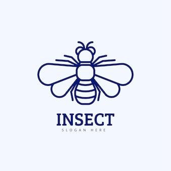 현대 monoline 곤충 창조적 인 로고 디자인