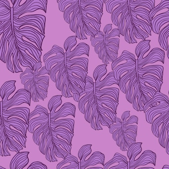 Modern monstera leaf seamless pattern on purple background